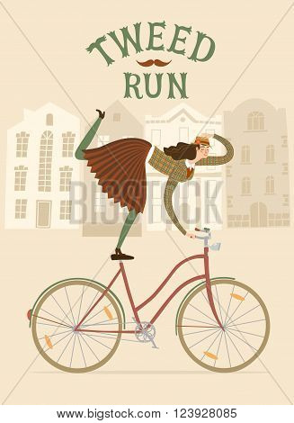 Tweed Run cartoon poster. City style elegant woman riding standing on a bicycle. Including beautiful european cityscape background.