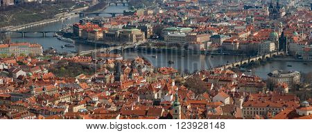 Large Aerial panorama of Prague from Petrin Tower