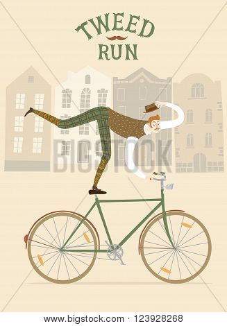 Tweed Run cartoon poster. City style elegant man riding standing on a bicycle. Including beautiful european cityscape background.