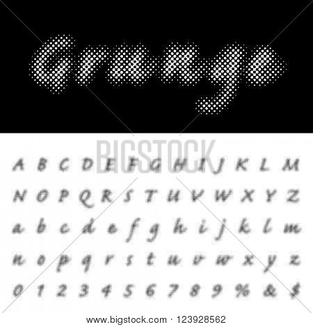 vector halftone dotted raster script font