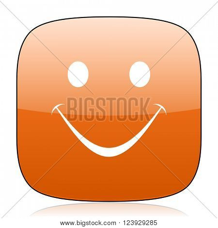 smile orange square glossy web icon