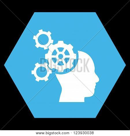 Brain Mechanics vector pictogram. Image style is bicolor flat brain mechanics iconic symbol drawn on a hexagon with blue and white colors.