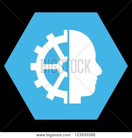 Cyborg Gear vector pictogram. Image style is bicolor flat cyborg gear icon symbol drawn on a hexagon with blue and white colors.