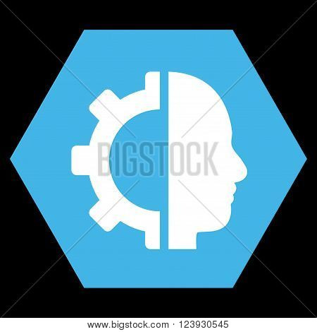 Cyborg Gear vector icon. Image style is bicolor flat cyborg gear icon symbol drawn on a hexagon with blue and white colors.
