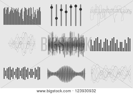 Black sound music waves on white background. Audio technology, visual musical pulse. Vector illustration