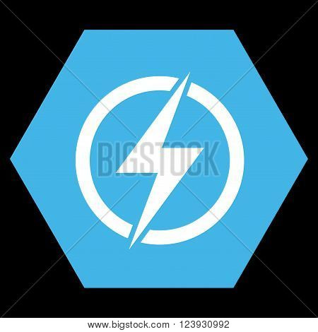 Electricity vector icon. Image style is bicolor flat electricity iconic symbol drawn on a hexagon with blue and white colors.