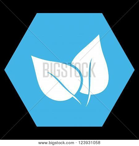 Flora Plant vector icon symbol. Image style is bicolor flat flora plant iconic symbol drawn on a hexagon with blue and white colors.
