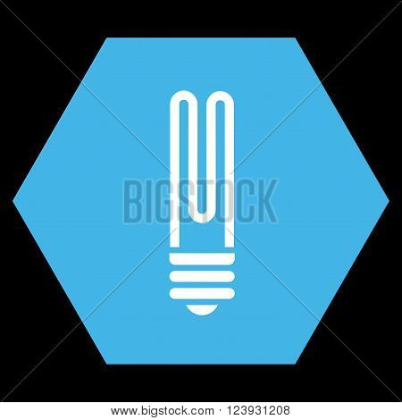 Fluorescent Bulb vector pictogram. Image style is bicolor flat fluorescent bulb iconic symbol drawn on a hexagon with blue and white colors.