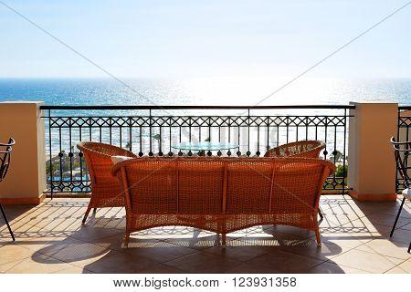 Sea view terrace of luxury hotel Peloponnes Greece
