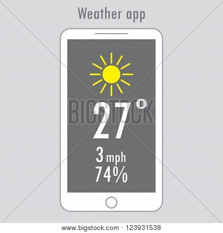 Modern white smartphone with weather app on the screen. Flat design template for mobile apps Vector illustration.