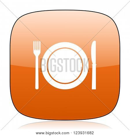 restaurant orange square glossy web icon