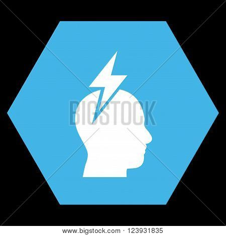 Headache vector icon. Image style is bicolor flat headache pictogram symbol drawn on a hexagon with blue and white colors.
