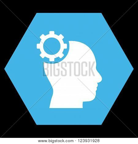 Intellect Gear vector symbol. Image style is bicolor flat intellect gear icon symbol drawn on a hexagon with blue and white colors.