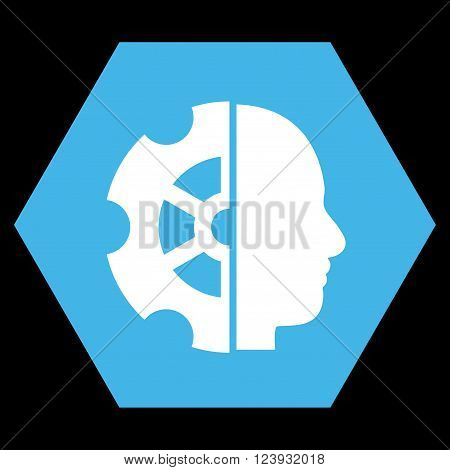 Intellect vector icon. Image style is bicolor flat intellect pictogram symbol drawn on a hexagon with blue and white colors.