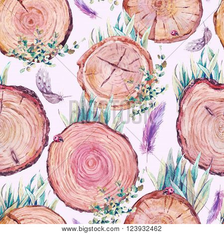 Watercolor natural wood seamless background with stumps, tree cuts, logs grass feathers ladybird, ecology illustration