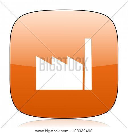 factory orange square glossy web icon