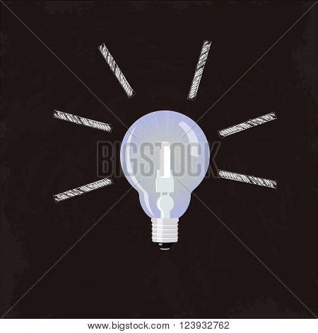 Nice Idea Glowing Lightbulb., solution Vector concept