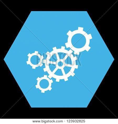 Mechanism vector symbol. Image style is bicolor flat mechanism iconic symbol drawn on a hexagon with blue and white colors.