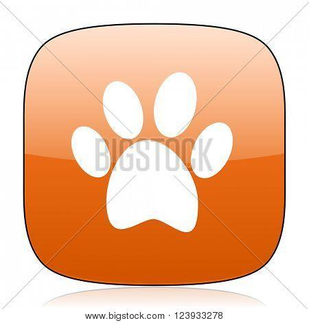 foot orange square glossy web icon
