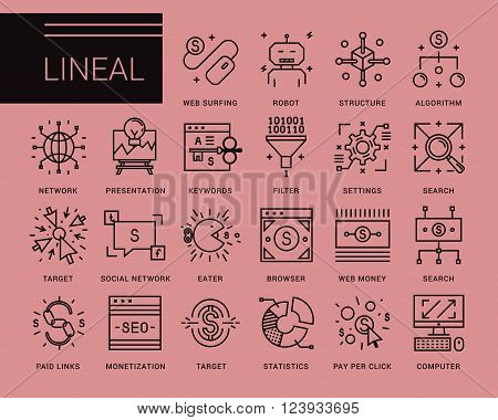 Line vector icons in a modern style. Pay per click , promotion and monetizing of website, marketing and public relations, network access, search engine optimization, affiliate program.