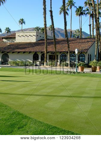 Clubhouse on golf course in Palm Springs California.
