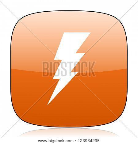 bolt orange square glossy web icon