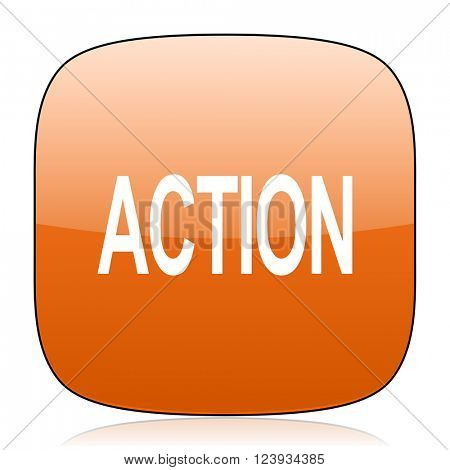 action orange square glossy web icon