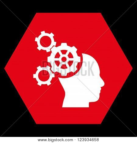 Brain Mechanics vector pictogram. Image style is bicolor flat brain mechanics pictogram symbol drawn on a hexagon with red and white colors.