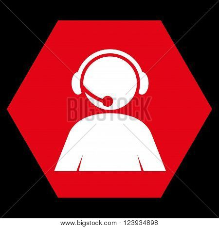 Call Center Operator vector icon symbol. Image style is bicolor flat call center operator iconic symbol drawn on a hexagon with red and white colors.