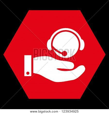 Call Center Service vector icon. Image style is bicolor flat call center service iconic symbol drawn on a hexagon with red and white colors.