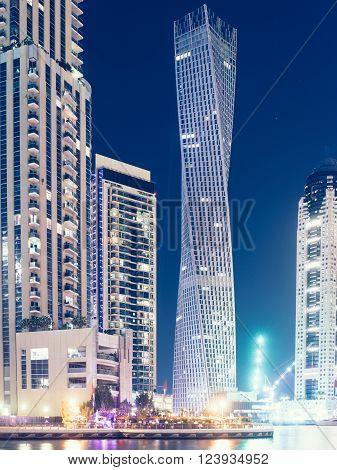 Skyscrapers in Dubai marina Dubai United Arab Emirates