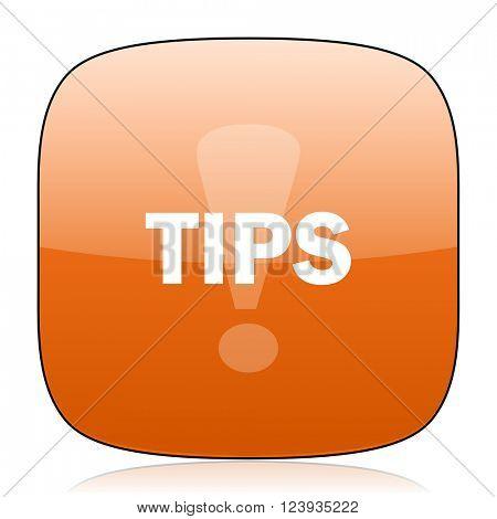tips orange square glossy web icon