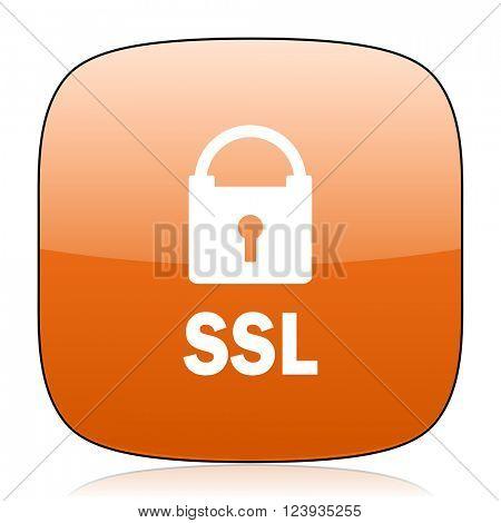 ssl orange square glossy web icon
