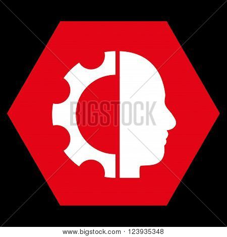 Cyborg Gear vector icon symbol. Image style is bicolor flat cyborg gear pictogram symbol drawn on a hexagon with red and white colors.