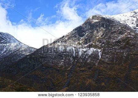 A view of Norwegian fjords and mountains