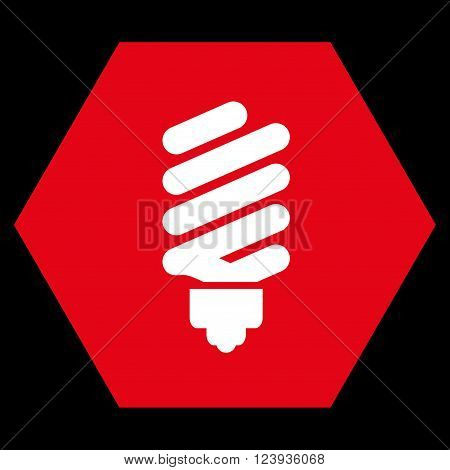 Fluorescent Bulb vector symbol. Image style is bicolor flat fluorescent bulb iconic symbol drawn on a hexagon with red and white colors.