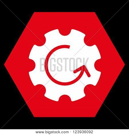 Gear Rotation vector icon symbol. Image style is bicolor flat gear rotation pictogram symbol drawn on a hexagon with red and white colors.
