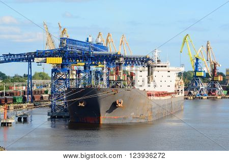 Cargo Ship Loading In The Port Of Ventspils