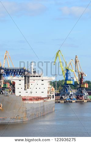 View of ships loading in Ventspils cargo port.
