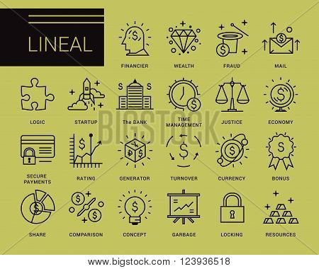 Line vector icons in a modern style.Business and financial operations, secure transactions, startup management, financial management