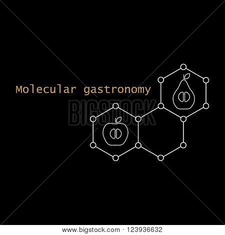 Stylized molecular structure, apple, pear, and text. Molecular gastronomy.Vector illustration.
