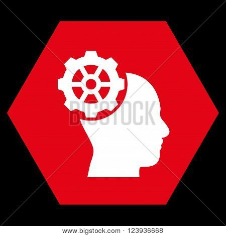 Head Gear vector icon. Image style is bicolor flat head gear iconic symbol drawn on a hexagon with red and white colors.
