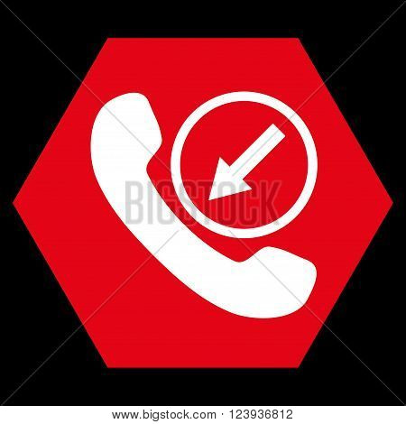 Incoming Call vector icon. Image style is bicolor flat incoming call iconic symbol drawn on a hexagon with red and white colors.