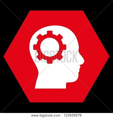 Intellect Gear vector icon. Image style is bicolor flat intellect gear pictogram symbol drawn on a hexagon with red and white colors.