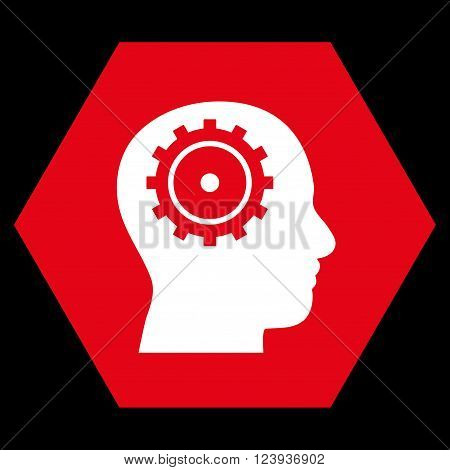 Intellect vector pictogram. Image style is bicolor flat intellect icon symbol drawn on a hexagon with red and white colors.