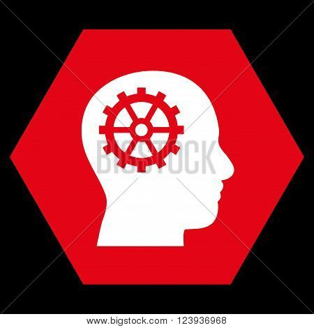 Intellect vector symbol. Image style is bicolor flat intellect iconic symbol drawn on a hexagon with red and white colors.