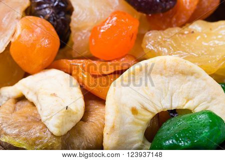 Dried fruit: apples dried apricots fig. Close up small depth of sharpness