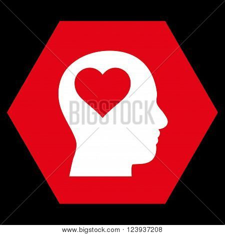 Lover Head vector pictogram. Image style is bicolor flat lover head iconic symbol drawn on a hexagon with red and white colors.