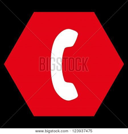 Phone Receiver vector icon symbol. Image style is bicolor flat phone receiver icon symbol drawn on a hexagon with red and white colors.