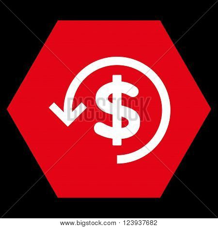 Refund vector icon symbol. Image style is bicolor flat refund icon symbol drawn on a hexagon with red and white colors.